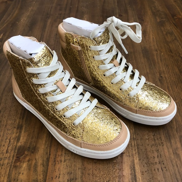 75d4cbd8f84 UGG GRADIE GLITTER GOLD FASHION HIGH TOP SNEAKERS